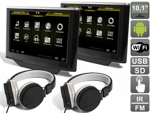 Комплект навесных мониторов на подголовник с диагональю 10.1 AVIS Electronics AVS1010HD (#04) на Android для автомобилей BMW X5 E70 (2010-2013) / X6 E71 (2012-2014)